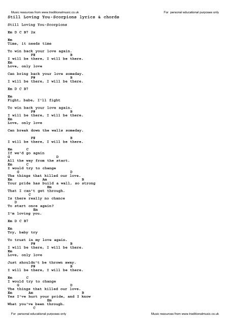 Download Still Loving You Scorpions As Pdf File Traditional Music