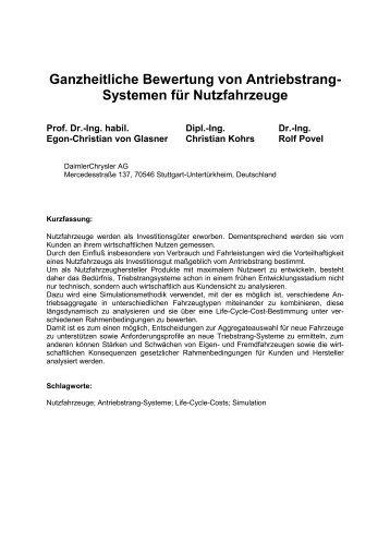 Ganzheitliche Bewertung von Triebstang-Systemen