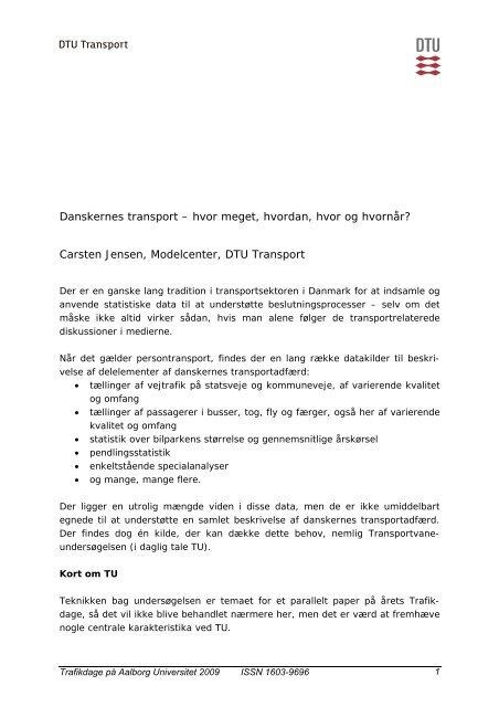 Danskernes transport – hvor meget, hvordan, hvor ... - Trafikdage.dk