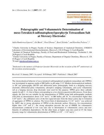 Polarographic and Voltammetric Determination of meso-Tetrakis(4 ...