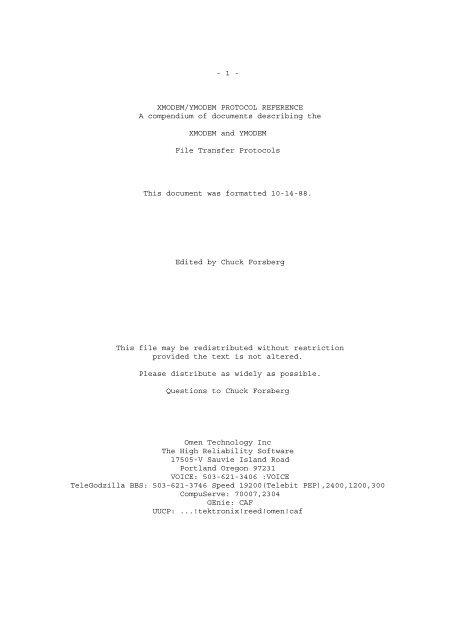 1 - XMODEM/YMODEM PROTOCOL REFERENCE A compendium