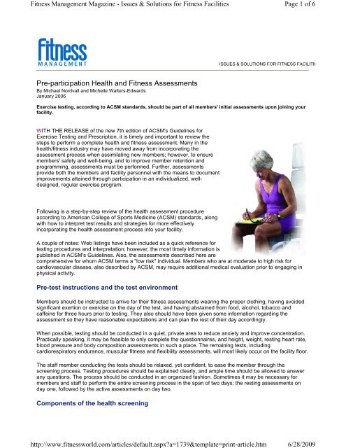 Pre-participation Health and Fitness Assessments