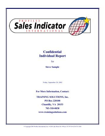 Confidential Individual Report - TRAINING SOLUTIONS Inc.
