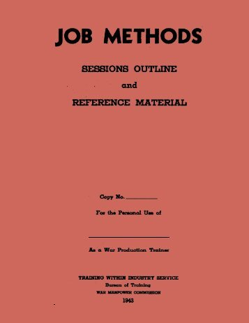 Job Methods Manual - Training Within Industry Service