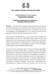 Exquisite Fohlen-Auktion - Trakehner Verband