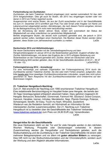 LaGe 21. Trakehner Hengstbuch-Nachtrag Zum 21. Mal erscheint ...