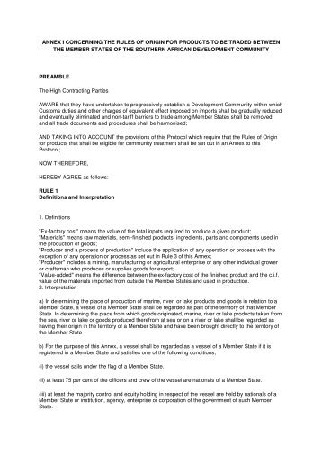 annex i concerning the rules of origin for products to be traded ...