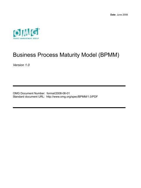 Business Process Maturity Model, BPMM 1 0 - CSP AG