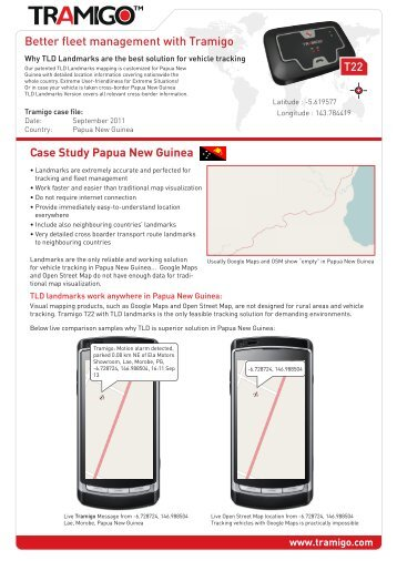 Case Study Papua New Guinea Better fleet management with Tramigo