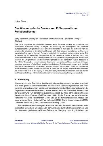 Das übersetzerische Denken von Frühromantik und ... - trans-kom
