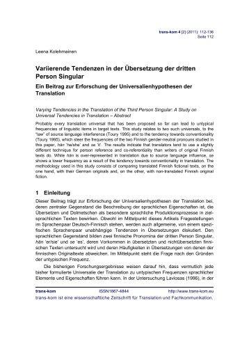 Variierende Tendenzen in der Übersetzung der dritten ... - trans-kom