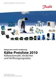 Refrigeration and Air Conditioning Kälte-Preisliste 2010 - Danfoss