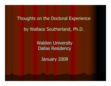 Thoughts on the Doctoral Experience - Academic Achievement ...