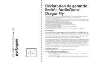 Déclaration de garantie limitée AudioQuest DragonFly