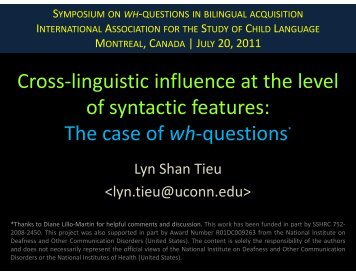 Cross-linguistic influence at the level of syntactic features: The case ...
