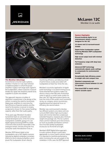 McLaren 12C Data Sheet - Meridian Audio
