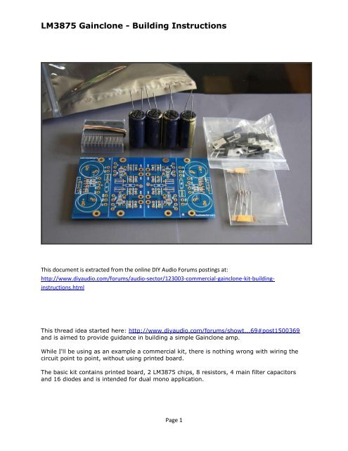 LM3875 Gainclone - DIY Chip Amplifier Kits, PCB's ... on