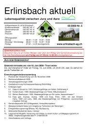 05/2009 Nr. 5 www.erlinsbach-ag.ch - Gemeinde Erlinsbach AG