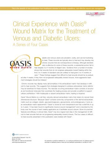 Clinical Experience with Oasis® Wound Matrix for the Treatment of ...