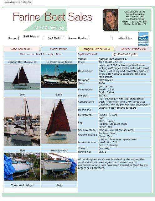 Moreton Bay Sharpie 17 Sailing Yacht Farine Boat Sales