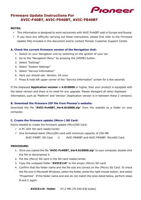 Firmware Update Instructions For AVIC-F40BT, AVIC     - Pioneer