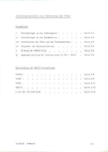 Inhaltsverzeichnis zur Anleitung zum T0012 - Tramsoft