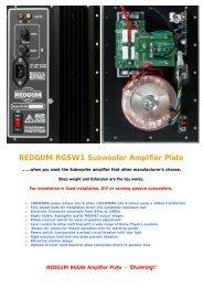REDGUM RGSW1 Subwoofer Amplifier Plate - REDGUM Audio