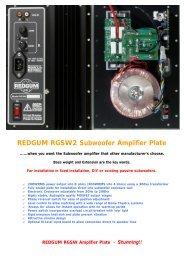 REDGUM RGSW2 Subwoofer Amplifier Plate - REDGUM Audio