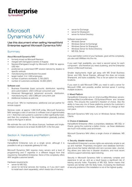 Microsoft Dynamics NAV - HansaWorld