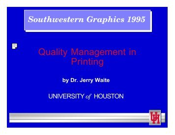 Quality Management in Printing - Graphic Communications ...