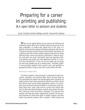 Preparing for a career in printing and publishing: - Graphic ...