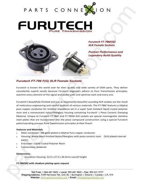 Furutech FT-786 F(G) XLR Female Sockets     - Parts ConneXion