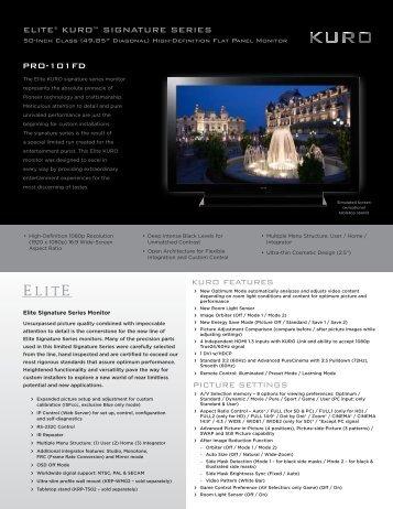 elite® kuro™ signature series pro-101fd - Pioneer Electronics