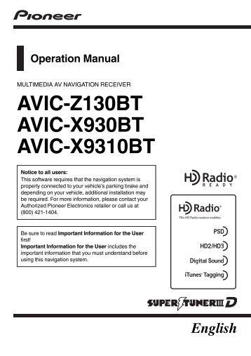 AVIC-Z130BT AVIC-X930BT AVIC-X9310BT - Pioneer Electronics
