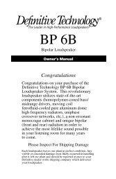 BP6B Manual - Definitive Technology