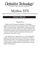 Mythos STS SuperTower Manual - Definitive Technology
