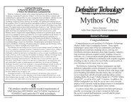 Mythos One Manual - Definitive Technology
