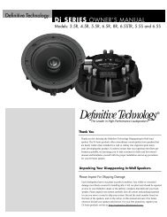 Di SERIES OWNER'S MANUAL - Definitive Technology