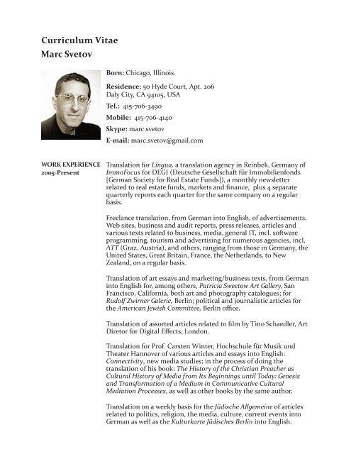 Marc Svetov Curriculum Vitae Transatlantic Habit