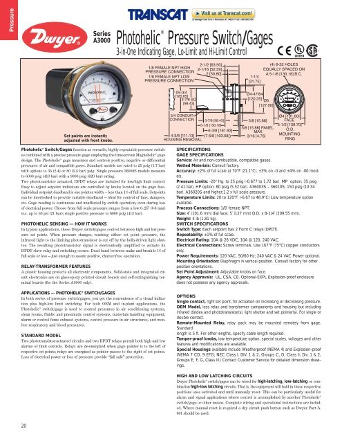 Dwyer A3001 Photohelic Pressure Switch//Gauge F 0-1 WC 1//8 NPT