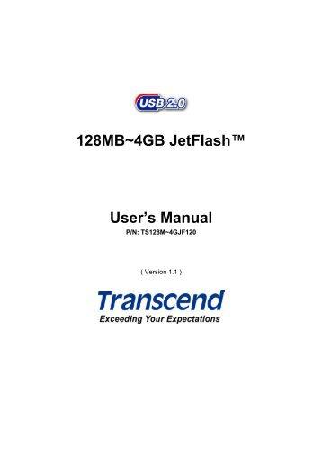 128MB~4GB JetFlash Users Manual - Transcend
