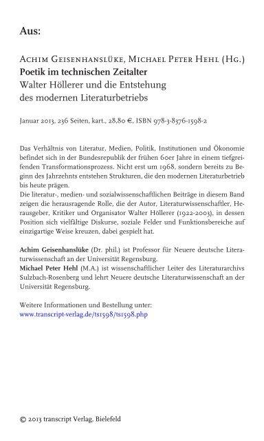 Walter Höllerer Und Die Entstehung Des Transcript Verlag