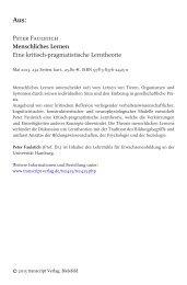 Peter Faulstich Menschliches Lernen Eine kritisch ... - transcript Verlag