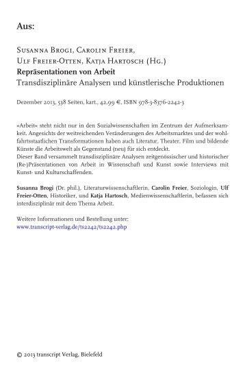 Repräsentationen von Arbeit - Transdisziplinäre ... - transcript Verlag