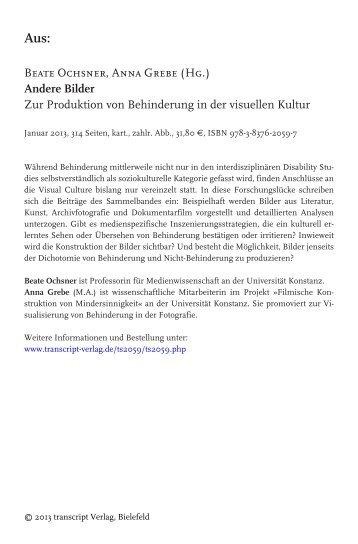 Beate Ochsner, Anna Grebe (Hg.) Andere Bilder ... - transcript Verlag