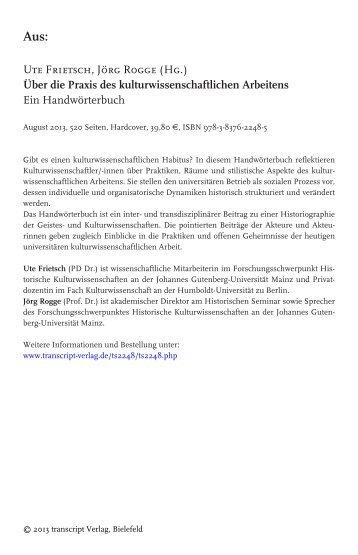 Über die Praxis des kulturwissenschaftlichen ... - transcript Verlag