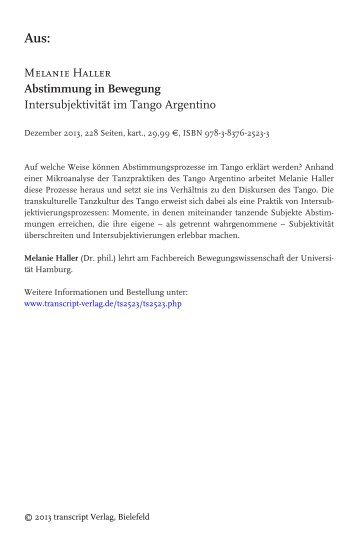 Intersubjektivität im Tango Argentino - transcript Verlag