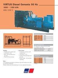VIRTUS Diesel Gensets 50 Hz 1000 – 1100 kVA - TransDiesel