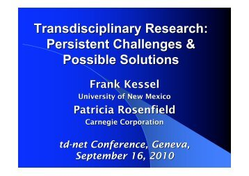 ppt-pdf - SAGUF Network for Transdisciplinary Research