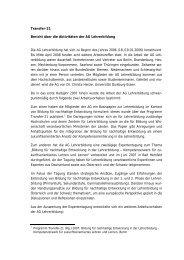 Transfer-21 Bericht über die Aktivitäten der AG Lehrerbildung Die ...